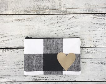 Black and white plaid zip pouch small clutch bag make up bag