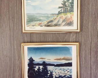 Original Watercolor Paintings, Beach Landscape, New York Landscape, Framed Watercolor, Signed by Artist