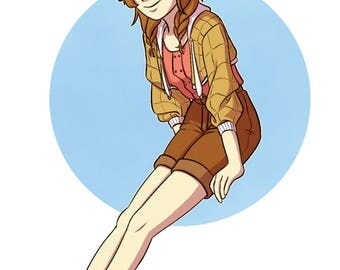 Girl with Tan Jacket [Fashion Art Print] Pokemon Sandshrew Gijika, Digital Art Print, Original Art Print, Fashion Artwork