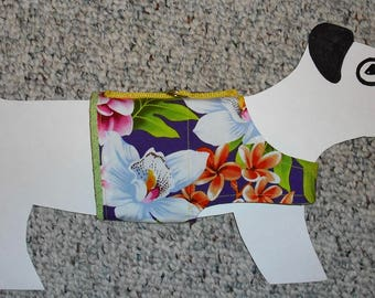 "Cotton Dog Walking Harness Vest, Purple Hawaiian Surfer Shirt size xxs (Chihuahuas, Yorkie, 5-8 lbs) 14"" girth"