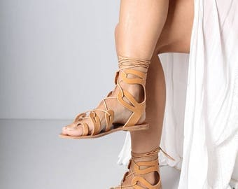 Strappy Womens Leather Sandals, Womens Strappy Leather Sandals, Boho Sandals, Vegetable Tanned Leather Sandals, Womens EU 38, Womens US 7.5