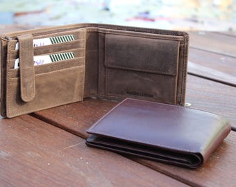 Large Trifold Genuine Leather Black Brown Men's Wallet ID Cards Coins Window Bill Gift 9651