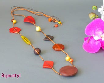 Long fashion with these orange beads - red-brown-yellow necklace