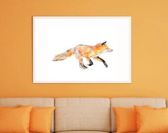 Fox Art Print, Fox Framed Wall Art, Fox watercolour Painting