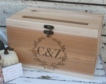 Custom Wedding Card Box, Rustic Wedding Decor, Wedding Cards,  Dark Stained Wedding card Box, Barn Wedding Decor, card box
