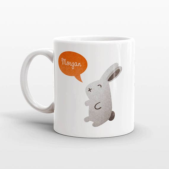 Custom Name Mug, Rabbit Bunny Mug, Personalized Mug, Unique Coffee Mug, Office Mug, Best Friend Gift, Birthday Gift, Cute Animal Lover Gift