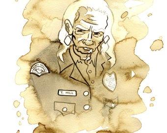 Deputy Hawk, Twin Peaks, Coffee and Watercolor Original Painting