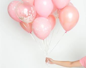 Confetti Balloon Set - Millenial Pink - Dusty Pink, Millennial Pink, Rose Gold, Pink Splatter Paint Balloon Bouquet - Chic Party Balloons