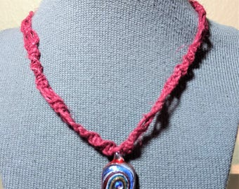 Macrame Red Hemp Necklace with Glass Pendant