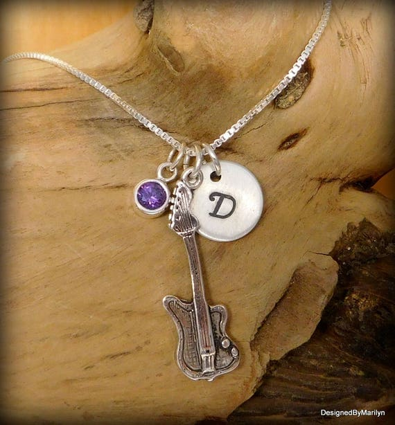 Sterling silver electric guitar necklace, musician necklace, personalized music necklace, music instructor, music student