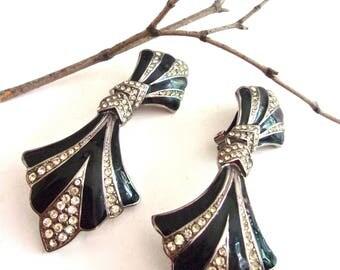 Black Art Deco BIJOUX DESIGNS Earrings, Rhinestones & Enamel, Doorknocker Large Vintage