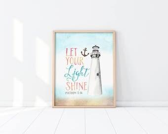 Baptism Gift - Nursery Art Printable - Nautical - Blue - Let your light shine - Bible Verse - Christening - Scripture Quote - SKU:3499