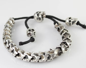 Sterling Silver Snake Vertebrae Bracelet with Skull Beads