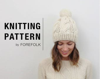 Knitting Pattern | Super Bulky/Weight 6 Cable Knit Pom-Pom Hat | THE BELFAST Instant Download
