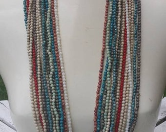 14 strands ,colorful Multi strands stones beads necklace