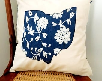 Ohio Pillow Cover - Chambray and Embroidery State of Ohio Pillow Cover