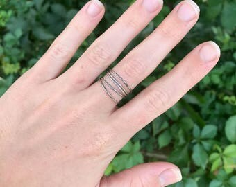 Five Teeny Sterling Silver Stacker Rings – Thin Stacking Bands - Delicate - Tiny - Dainty Ring - Bohemian Festival Wear - Everyday Jewelry