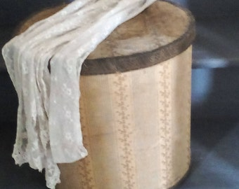 Antique French fabric covered box ~ hat box ~storage box ~ shabby time worn beauty ~ silk fabric ~ticking embroidered silk hat box