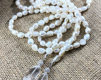 Pearl Lariat Necklace+ Earrings | White Baroque FW pearls, faceted rock crystals, 925 silver | Bridal Wrap | Long Pearl & Crystal Necklace