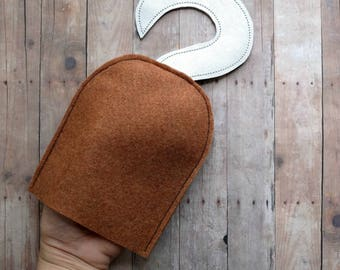 Pirate Hook, Child Size, Copper Felt and Silver Vinyl, For Halloween Costume and Dress Up Play, Photo Prop, Made in USA