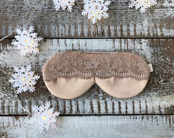 Lace Sleep Mask / Satin Sleep Mask / Champagne Sleep Mask / Beige Eyemask / Floral Lace Mask / Satin Mask