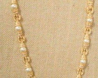 Jackie Kennedy 24K GP Necklace with Glass Pearls, Crystals, Box and Certificate