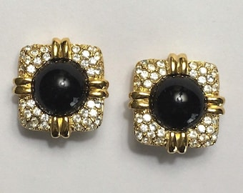 Joan Rivers Earrings Clip on Black with Crystals - S1667