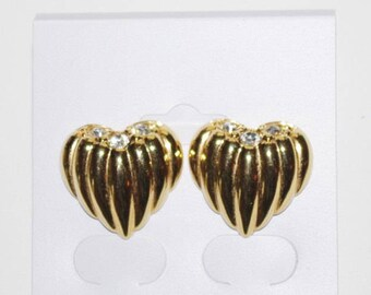 Joan Rivers Heart Earrings Ribbed Design Gold Tone with Crystals - Pierced - S1109