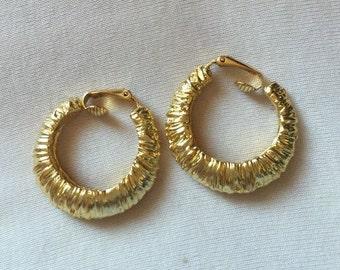 Kenneth Jay Lane Gold Tone Hoop Earrings - Clip On - S2321