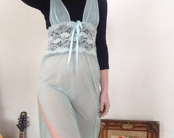 70s Vintage 80s 90s Sensual Mystique Light Blue Aqua Turquoise Maxi Babydoll Floor Length Lingerie Dress Size Medium