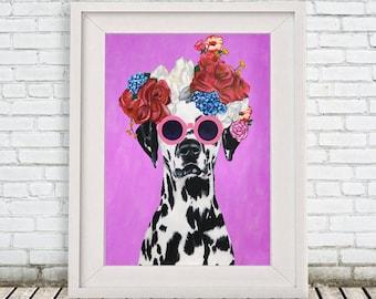 Dalmatian Print, dalmatian Illustration Art Poster Acrylic Painting Kids Decor Drawing Gift, Dalmatian with flowers, Frida Kahlo