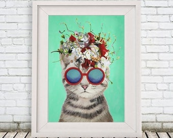 Original Kitty Print, cat Illustration Art Poster Kids Decor Drawing Gift, cat with flowers, gift for cat lover,christmas gift, holiday gift
