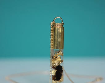 NEW STYLE! Honeybee & Gold Flake Vial Bullet Necklace - 14K Gold-Filled - Encased Natural History Series - Free US Shipping!