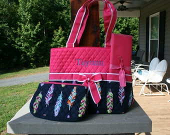 Personalized Multi-colored Feather Diaper Bag Quilted Baby Shower Gift