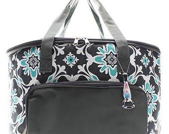Monogram Cooler Bag Gray Aqua Large Insulated Cooler Tote