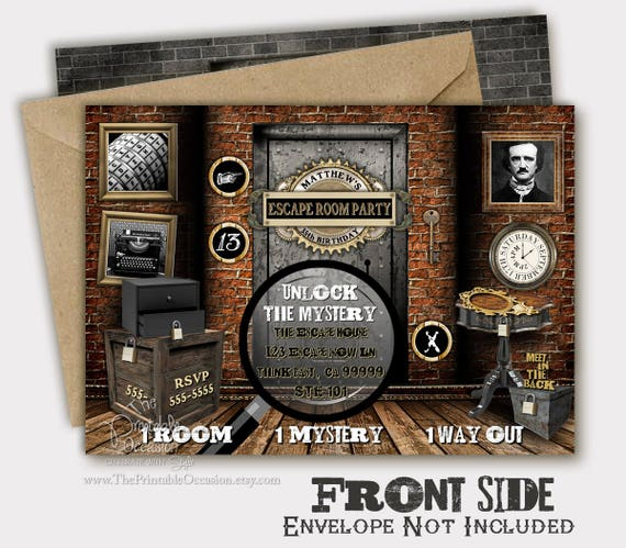 Escape Room Invitation Birthday Invitation Escape Room Mystery