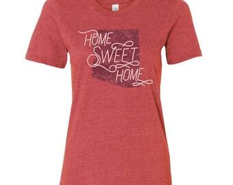 Arizona Home Sweet Home - State Pride Womens Ringspun T Shirt - Heather Red