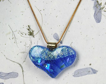 Large glass heart. Unique fused glass pendant. One of a kind.