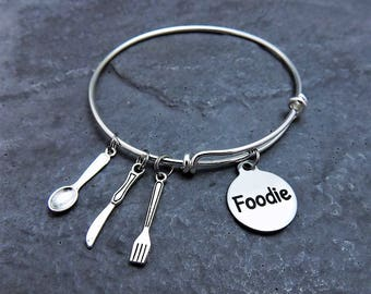 Foodie Gift - Spoon, Knife, Fork Charms, Foodie Jewelry - Charm Bracelet - Expandable Charm Bangle - Gift for Chef - Culinary - Food Lover