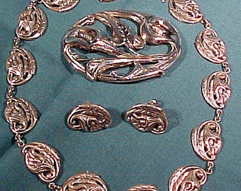 Early Danecraft Sterling Silver Lily Parure Set 1940