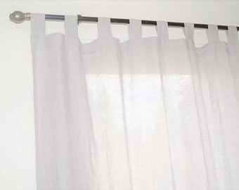 Linen curtain panel  , linen window panel, linen drapery -  light gray linen