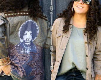 Jimi Hendrix Khaki army jacket coat vintage doilies printed applique rocker 1970s inspired boho chic bohemian recycled upcycled flannel cuff