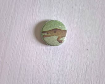Lil' Alligator Vintage Pinback Button --- American Swamp Creature Badge --- Tiny Crocodilian Lapel Collar Accessory Pin Stocking Stuffer