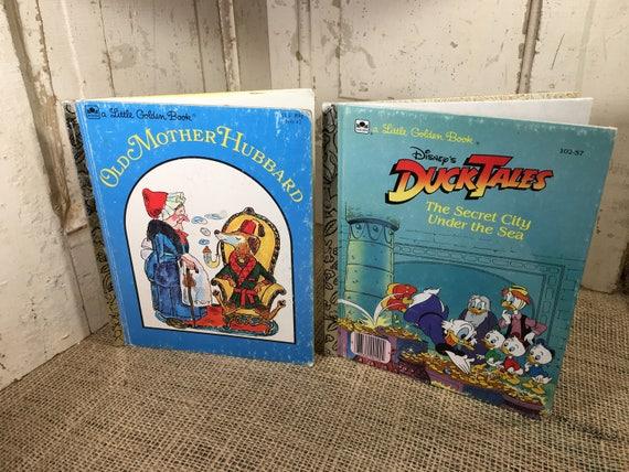 Two vintage Golden Books, Old Mother Hubbard, Disney's Duck Tales,vintage golden books, childrens books, book decor for children