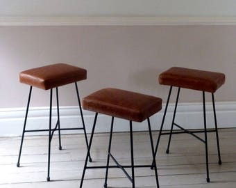 Set of Three Tan Leather Counter Stools