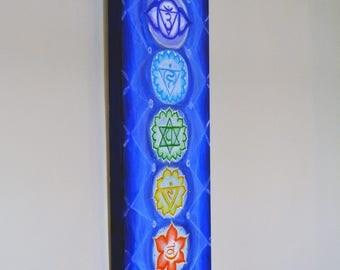 "Chakra Painting - ""Blue Sky"" - Spiritual Art - Yoga Painting - Chakras - Spiritual Painting - 12"" x 36"" x 1 1/2"" -Chakra Art"