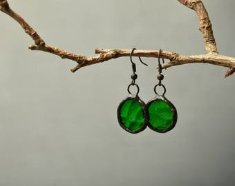 green earrings, mom gifts, minimal glass earrings, boho jewelry, womens gift