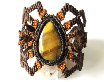 Tiger eye Macrame Brown Bracelet Original Handmade Creation with natural Tiger eye stone