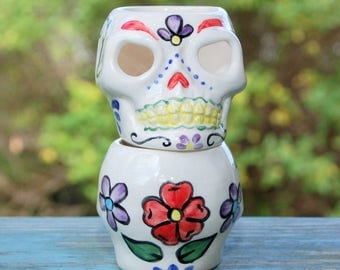 Sugar Skull Candle Cup, Dia De Los Muertos, Day of the Dead Candleholder, Halloween Candle Cup, Skull Votive Holder,Halloween Candlestick