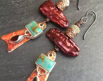 Ancient Treasures, Inviciti, Garnet Earrings, Biwa Pearls, Turquoise Charms, Ancient Roman Glass, Sterling Bezel Gemstones, One of a Kind
